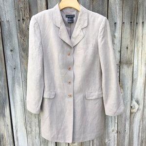 Halston Vintage Silk Linen Blazer Khaki 10